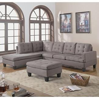 Divano Roma Furniture Sofá composable reversible de 3 piezas con chaise con otomano, gris carbón