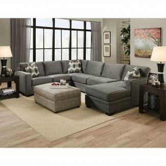 Muebles: Sofá seccional en forma de U gris con otomana agradable ...