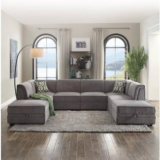 Acme Furniture Bois Grey Seccional con otomana   The ...