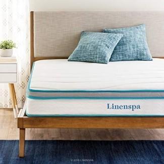 Linenspa 8 Inch Memory Foam e Innerspring Hybrid Colchón con estructura de cama plegable Linenspa de 14 pulgadas con plataforma - Twin XL