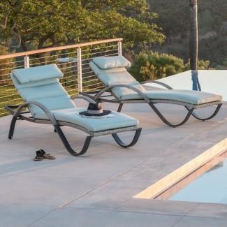 Reclinable Castelli Chaise Lounge con Cojín Sunbrella (Juego de 2)