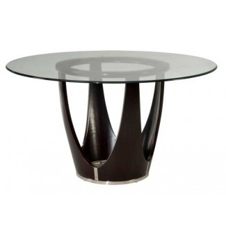 Bassett Mirror Baxter 54 Inch Round Glass Top Dining Table