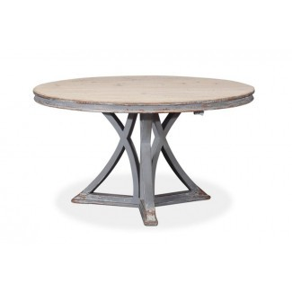 Mesa de comedor redonda transicional de 54 pulgadas con base pintada gris