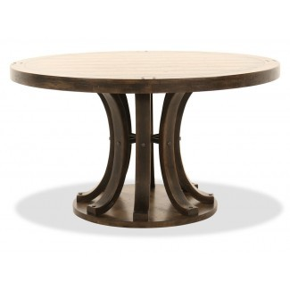 """Mesa de comedor redonda de 54 """"en madera oscura   Mathis Brothers"""