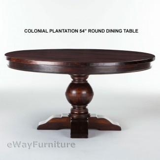 Mesa de comedor redonda Colonial Plantation 54 pulgadas