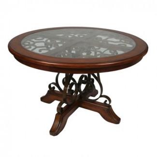 Pastel Carmel 54 Inch Mesa de comedor redonda de madera en Cosmo