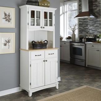 Estilos para el hogar Blanco / Wood Natural Kitchen Hutch en