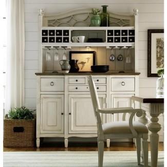 Buffet de cocina Country-Chic en madera de arce blanco con barra ...