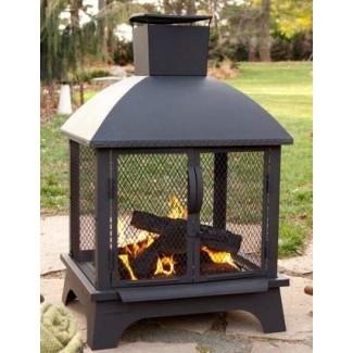 Chimenea de leña de diseño exterior, pozo de fuego de acero inoxidable | con chimenea