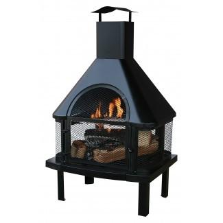 Chimenea de leña exterior negra con chimenea - Tuffhut