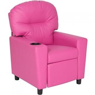 Best Choice Products Silla reclinable para muebles para niños con portavasos - Rosa
