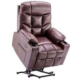 Silla reclinable con elevador eléctrico TUV Lift Motor Lounge con control remoto Puertos de carga USB dobles Portavasos Sofá de cuero sintético sintético 7288
