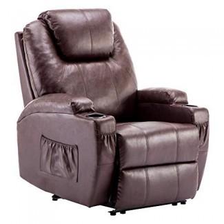 Sofá ergonómico de masaje reclinable eléctrico Sillón con calefacción vibrante Portavasos dobles de cuero sintético 7050