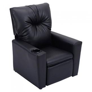 Sofá reclinable para niños Costzon, silla de cuero de PU con asiento reclinable y portavasos
