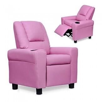 Windaze - Sofá reclinable para niños de cuero sintético Cómodo sillón para sala de estar con portavasos, rosa
