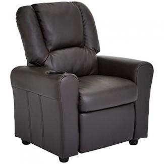 JC Home Bilbao Sillón reclinable para niños con portavasos y reposacabezas, marrón moca