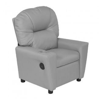 Relaxzen gris reclinable para jóvenes con portavasos y doble USB