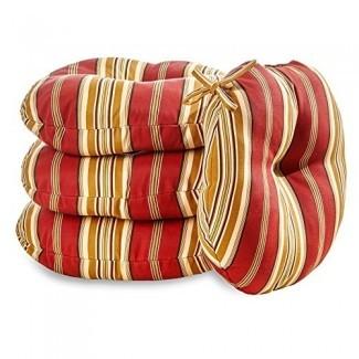 Greendale Home Fashions Cojín redondo para sillas de bistró para exteriores de 18 pulgadas - Rayas - Juego de 4