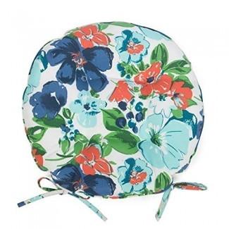 """Azul naranja Summer Floral Juego de 2 cojines redondos para sillas de patio de 16 """"con lazos para sillas de patio exterior"""