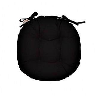 RSH Décor Interior / Outdoor Cojín redondo copetudo para silla Bistro con lazos - Hecho con lona Sunbrella negra