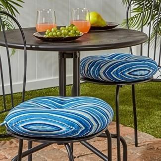 Greendale Home Fashions Cojín redondo para silla de bistró para exteriores de 15 pulgadas en rayas costeras (juego de 2)