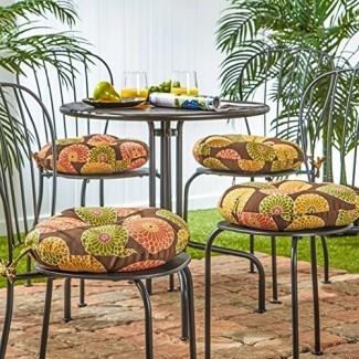 Greendale Home Fashions 15 in. Round Outdoor Bist ro Cojín para silla (juego de 4)