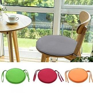 YOMINY Cojines para sillas de comedor, cojines redondos antideslizantes de espuma viscoelástica para asientos con lazos para muebles de patio interior al aire libre, jardín, oficina en casa, 40 CM x 40 CM
