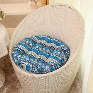 Juego de cojines para sillas redondas Cojín para asiento para patio interior y exterior ...