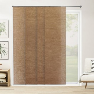 Persiana vertical marrón con oscurecimiento de la habitación con panel deslizante ajustable