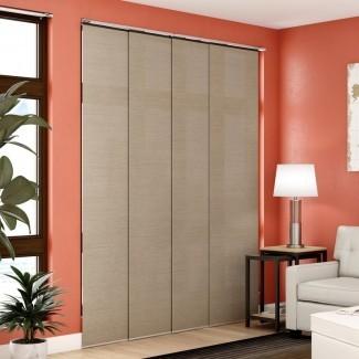"""Paneles deslizantes ajustables de primera calidad, persianas verticales cortadas a medida, Nevada Timberwolf (tejido natural, tela que oscurece la habitación) - Hasta 80 """"de ancho x 96"""" de alto"""