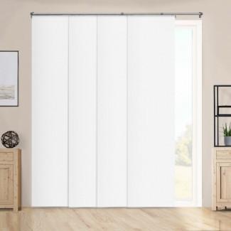 """Paneles deslizantes ajustables de primera calidad, persianas verticales cortadas a medida, blanco de alto rendimiento (tela opaca) - hasta 80 """"de ancho x 96"""" de alto"""