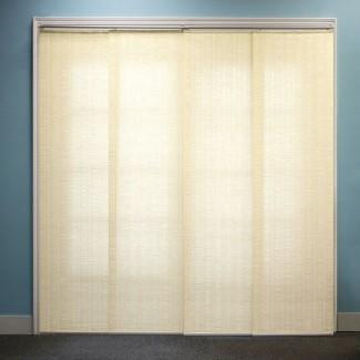 """Paneles deslizantes ajustables de primera calidad, persianas verticales cortadas a medida, vainilla provenzal (tejido natural, tela que oscurece la habitación) - Hasta 80 """"de ancho x 96"""" de alto"""