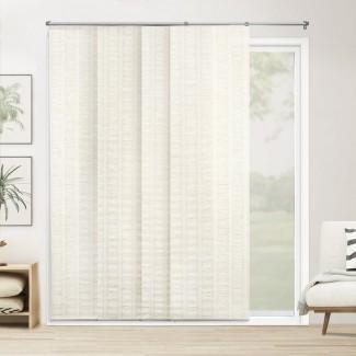 """Paneles deslizantes ajustables de primera calidad, persianas verticales cortadas a medida, blanco mar (tejido natural, tela que oscurece la habitación) - Hasta 80 """"de ancho x 96"""" de alto"""