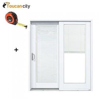 Cinta métrica Toucan City y puertas MP 60 x 80 pulg. Puerta de patio corrediza de material compuesto blanco liso para la izquierda con empotrado Persianas G5068L002WL