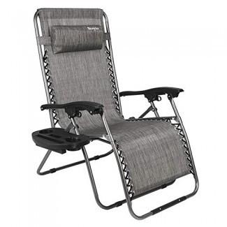 Silla Bonnlo extragrande de gravedad cero, sillón para patio al aire libre, sillas reclinables de oficina plegables ajustables con Portavasos y reposacabezas para jardín de playa