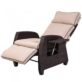 LCH Sofá reclinable ajustable y relajante Silla Muebles de mimbre para exteriores Estructura de aluminio Salón con cojines beige suaves y gruesos | Porche, patio trasero, piscina o jardín