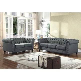 Best Master Furniture YS001 Juego de sofá tapizado de 2 piezas Venice, carbón vegetal