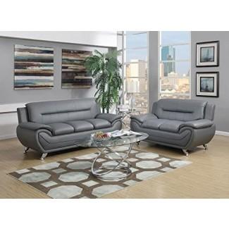 GTU Furniture Juego de sofá y loveseat de cuero PU moderno, Juego de 2 piezas de sofá