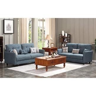 HONBAY Juego de 2 piezas de sofá y loveseat para muebles de salón, gris oscuro