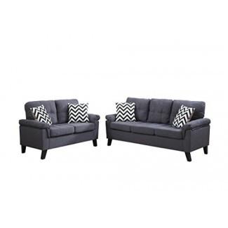 Poundex F6905 Bobkona Tyler tipo lino Juego de 2 piezas de sofá y loveseat, azul gris