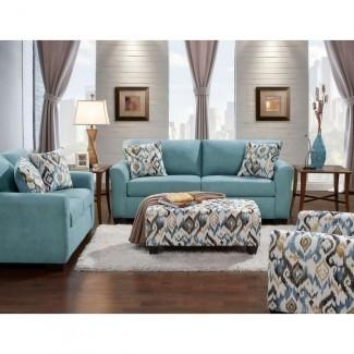 Juego de sofá y loveseat verde azulado Carlisle de 2 piezas-98513A2PC-TEAL ...