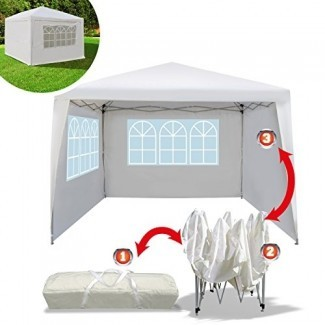 Beneficio Tienda EZ POP UP Wedding Party Carpa plegable de playa de 10'x10 'Gazebo Beach con bolsa de transporte con paredes laterales Panel lateral