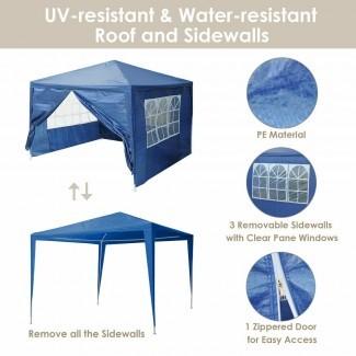 Carpa de boda 10'x10 'Outdoor Canopy Party Blue Pavilion w ...