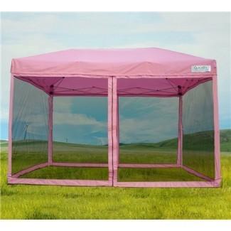 10 x 10 Toldo de ventana emergente rosa con pantalla |