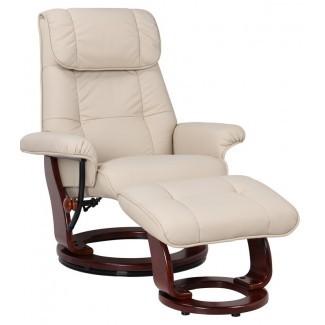 Sillón reclinable giratorio manual de cuero Célia con otomana