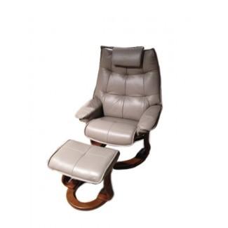 Hana Sillón reclinable giratorio de cuero con otomana