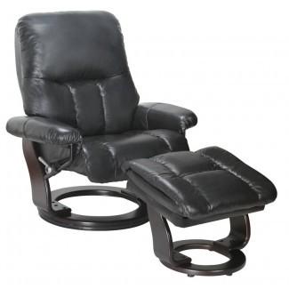 Febe reclinable giratorio manual de cuero con otomana