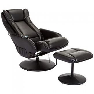 JC Home Drammen reclinable de cuero de masaje y reclinable de cuero Otomana con base envuelta en cuero, obsidiana negra