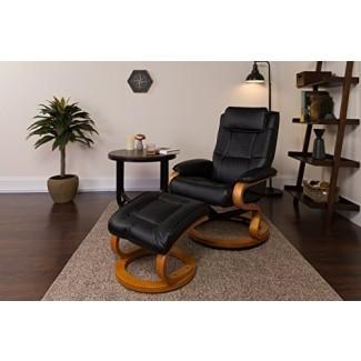 Sillón reclinable / otomano de cuero negro contemporáneo con base giratoria de madera de arce