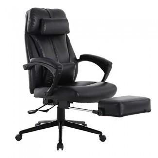 Silla de oficina ejecutiva reclinable con respaldo alto LCH con reposapiés, silla ergonómica de escritorio para computadora con cuero lumbar extraíble Soporte, altura ajustable, giro de 360 °, capacidad de peso 300 lb, negro